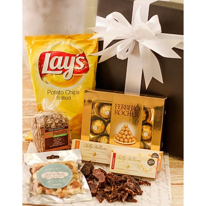 Baby Gift Basket South Africa : Corporate hamper with biltong chips nougat biscotti